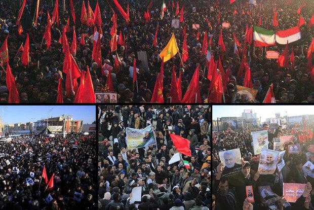 کرمان میں سپاہ اسلام کے عظيم کمانڈر کی تشییع میں کئي ملین افراد کاحضور/ تدفین کا پروگرام مؤخر