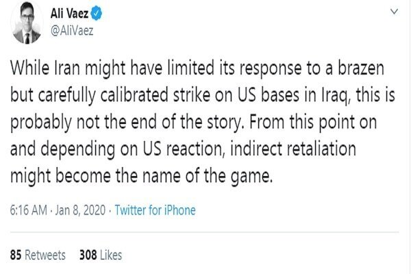 Iran's missile attack on US bases in Iraq 'well designed, regulated': Vaez