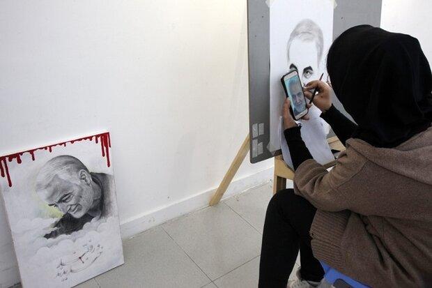 کارگاه خلق آثار تجسمی با موضوع «سردار شهید سلیمانی» برگزار شد