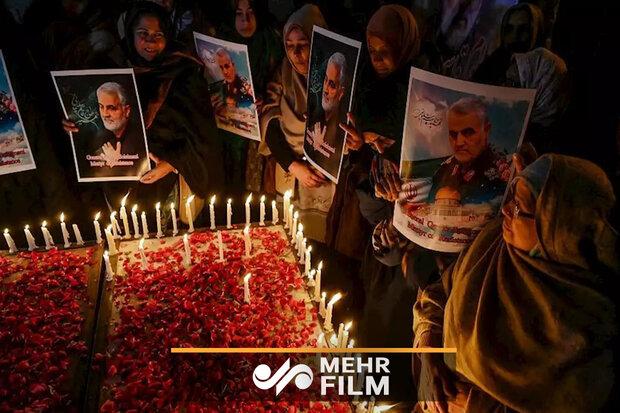 عزاداری زنان شیعه پاکستان برای شهادت سردار سلیمانی
