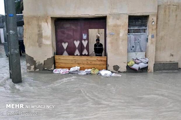 سیل و آبگرفتگی در جزیره قشم و شهرستان بستک