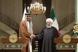 Hassan Rouhani and Emir of Qatar