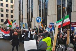 بیلجئم میں امریکی سفارتخانہ کے سامنے مظاہرہ