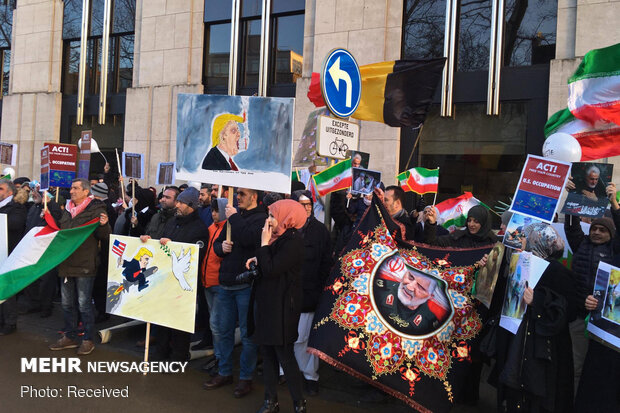 Anti-war protesters in Brussels condemn US war crime
