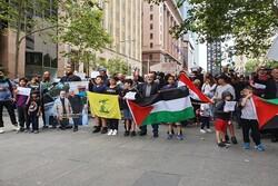 تظاهرة امام القنصلية الامريكية بمدينة سيدني الاسترالية احتجاجا على اغتيال سليماني