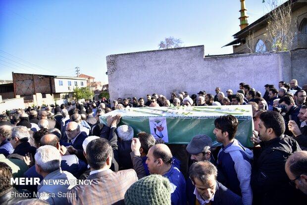 مراسم تشییع و خاکسپاری پیکر ۳ شهید سانحه هوایی در گرگان