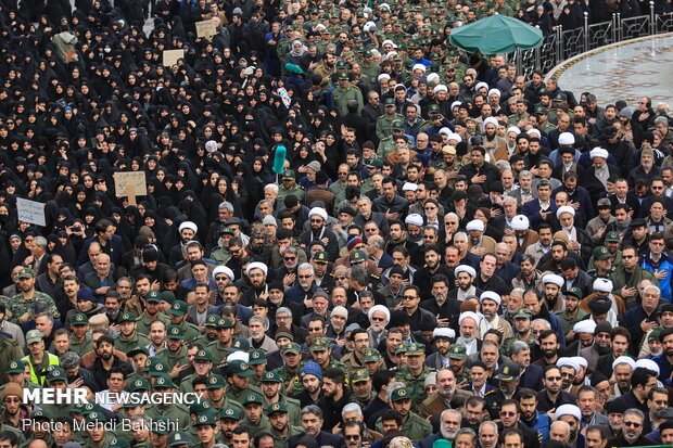 Funeral procession of six martyrs of Ukrainian plane crash in Qom