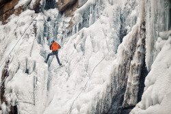 Frozen waterfall climbing in Hamedan