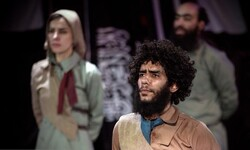 "Members of Mostafa Kushki's troupe perform ""Coriolanus"" at the Tehran Independent Theater."