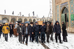 مراسم تشییع احسان اشراقی در بهشت صدر قزوین