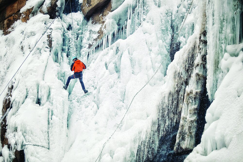 Frozen waterfall attracts ice climbers