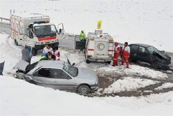 VIDEO: Snow causes multi-vehicle crash in Razavi Khorasan Province