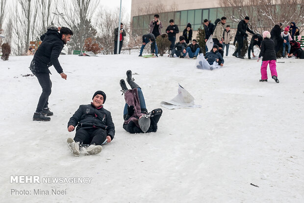 Snowfall brings happiness for families in NW Iran