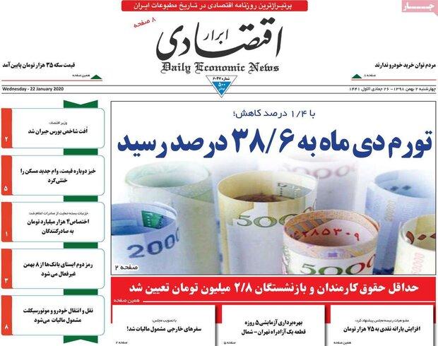 صفحه اول روزنامههای اقتصادی ۲ بهمن ۹۸