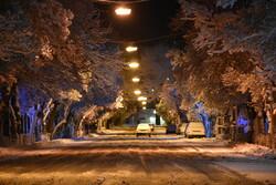 Arak kentinin karlı gecesinden fotoğraflar