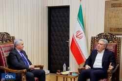 Iranian Minister of Cultural Heritage, Tourism and Handicrafts Ali-Asghar Mounesan meets with Tajik Ambassador Nizam al-Din Zahedi in Tehran on January 25, 2020.