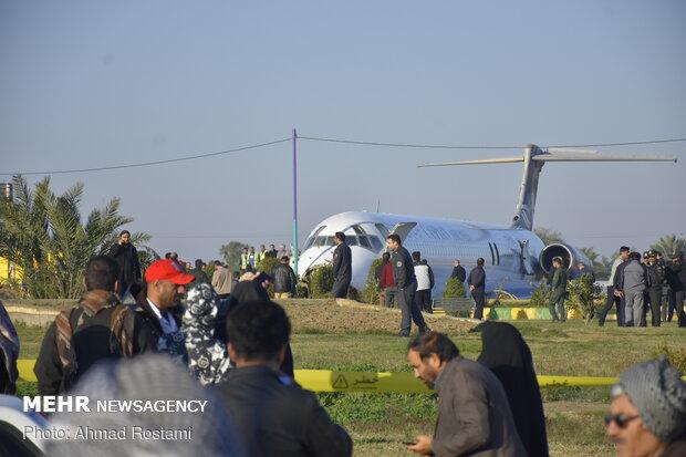 Boeing MD skidding off runway at Mahshahr, SW Iran