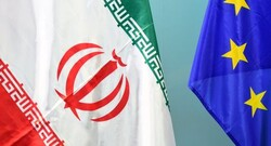 Flags of Iran and European Union. Photo Credit: Tasnim News Agency