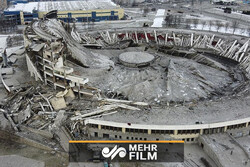 VIDEO: Dramatic drone footage shows collapse of stadium roof in Russia