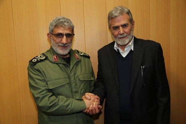 گفتگوی رهبران جهاد اسلامی و حماس با سردار قاآنی درباره معامله قرن