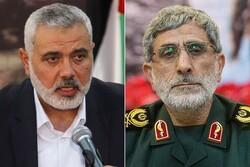 Ghaani, Haniyeh discuss US new plot for Palestine