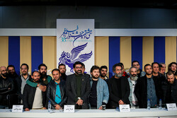 "Members of cast and crew attend the Iranian premiere of Saeid Malekan's directorial debut ""Day Zero"" the 38th Fajr Film Festival at Tehran's Mellat Cineplex on February 3, 2020. (ISNA/Hadi Zand)"