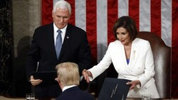 Trump declines to shake hands with Pelosi at Tuesday night's State of the Union Address. (Photo via AP)