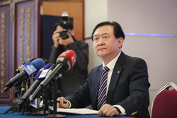 Beijing's ambassador in Tehran Chang Hua speaks at a press conference at China's embassy in Tehran, February 5, 2020. The envoy discussed on the coronavirus spreading in China and beyond, as well as a range of related issues such as ways to control the disease, its death toll, the humanitarian aid, economy, trade and travel with a host of reporters and media personnel.