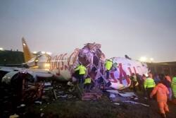 هواپیمای مسافربری در ترکیه پس از خروج از باند دو نیم شد