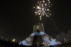 Fireworks and projection mapping at iconic Azadi Square