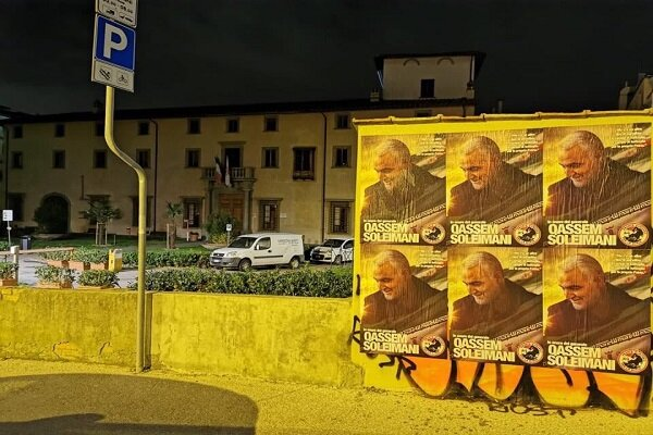 عکس های سردار سلیمانی در سراسر شهرهای ایتالیا