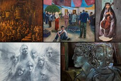 """This combination photo shows some paintings on display at the exhibition """"What Is Lost, Exists"""" underway at Avaye Honar Gallery."""