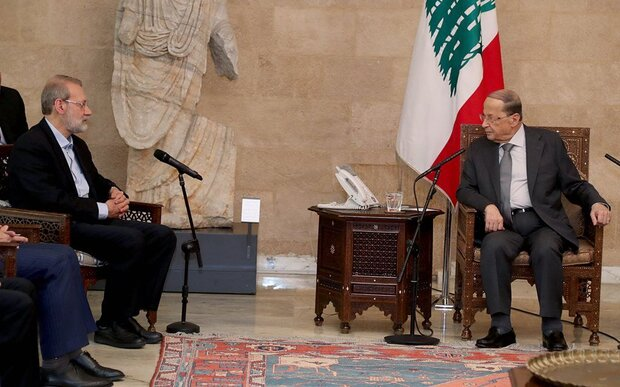 Larijani conveys a message from Rouhani to Aoun