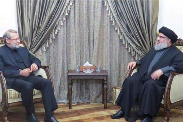 الأمين العام لحزب الله السيد نصر الله يستقبل لاريجاني