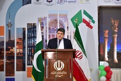 Iranian Consul General in Karachi Ahmad Mohammadi addresses a conference on Tehran-Islamabad tourism ties held at Mehran Arts Council in Hyderabad on February 15, 2020.