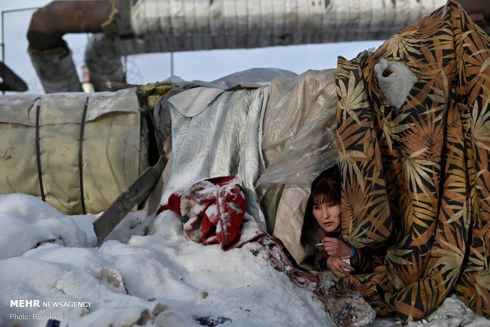 زندگی بیخانمانهای سیبری در سرمای کُشنده