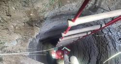 نجات سگ از عمق چاهی در سوهانک