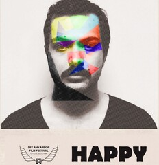 "A poster for Iranian director Ahmadreza Musavi's short film ""Happy""."