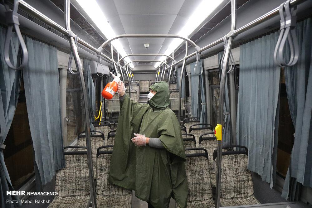ضدعفونی ناوگان حمل و نقل عمومی شهر قم