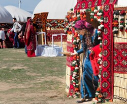 Colorful yurts at Noruz (Nowruz) festival