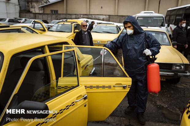 Disinfecting public transportation fleet in Rasht