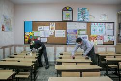 Disinfecting schools in Tabriz, East Azerbaijan