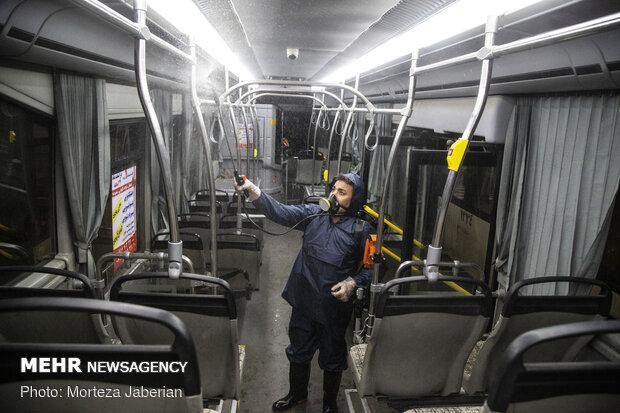 ضدعفونی ناوگان حمل و نقل عمومی اهواز
