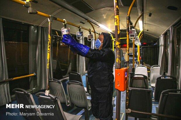 Public transportation fleet in Bojdnourd  disinfecting amid coronavirus anxiety