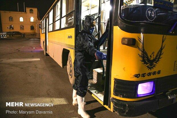 vPublic transportation fleet in Bojdnourd  disinfecting amid coronavirus anxiety