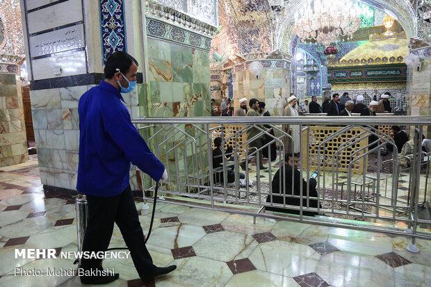 Disinfection of different parts of Holy Shrine of Hazrat Masoumeh (BPUH) amid 'coronavirus…
