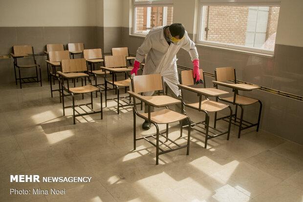 """تعقيم مدارس تبريز للوقاية من فايروس """"كورونا"""""""