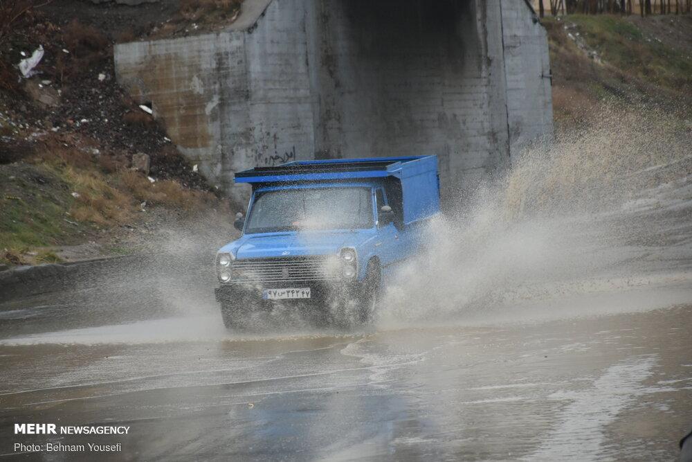 بارش باران و آبگرفتگی معابر در اراک