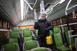 تطهير وتعقيم أسطول النقل العام في طهران