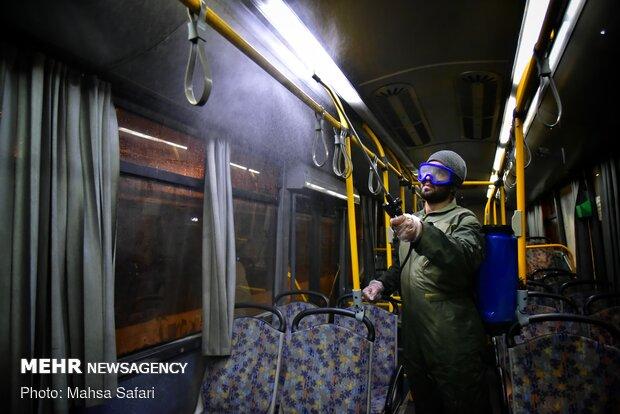 Disinfecting public transportation fleet in Gorkan